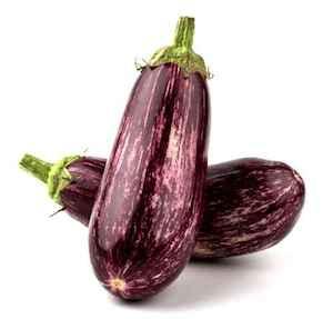 Two purple eggplants isolated on white