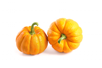 Two small decorative pumpkins