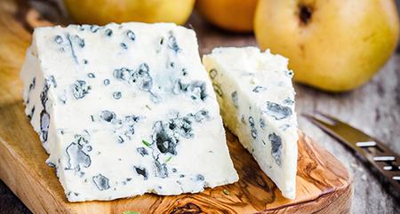 Blue cheese slices closeup