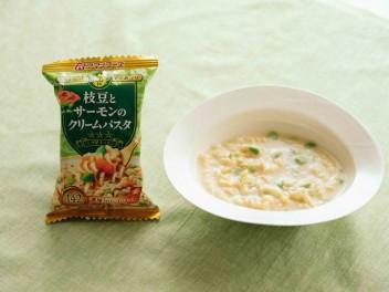 三ツ星キッチン 枝豆とサーモンのクリームパスタ