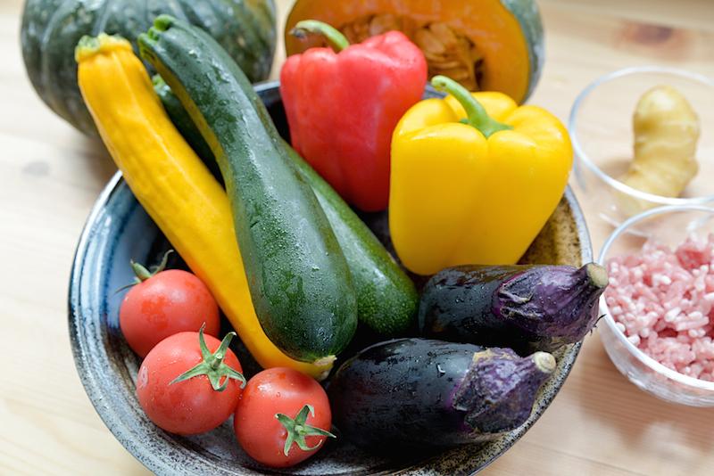夏野菜カレー材料