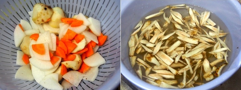 芋煮の調理