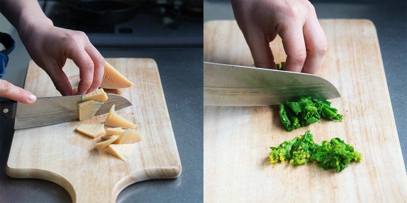 たけのこは薄切り、菜の花はさっと湯がいて2cm幅に切りそろえる