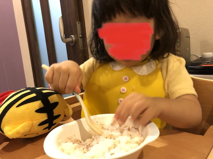 鶏肉混ぜご飯と娘