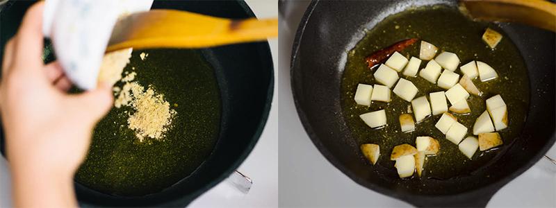砕いた「Theうまみ ガーリックスープ」をフライパンに入れ、オリーブオイルと混ぜる