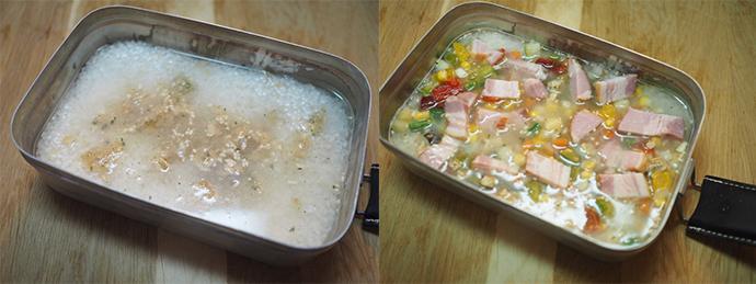 メスティンに炊き込みご飯の材料を入れる