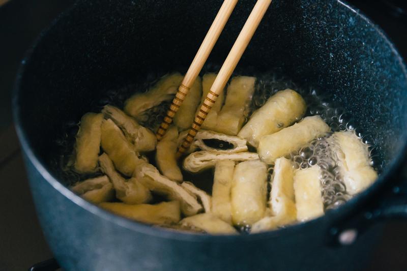 なすのお味噌汁レシピ(油揚げ)